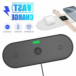 15W 3 in 1 Wireless Charger Qi Fast Charging Dock Pad For Ap