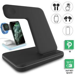 15W Qi Wireless Charger Pad Stand Charging Dock Station For