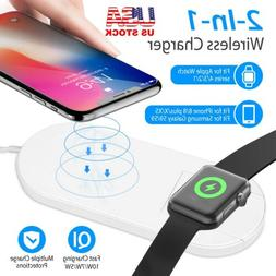 2-in-1 10W Fast Qi Wireless Charger Pad For Apple Watch 4/3/