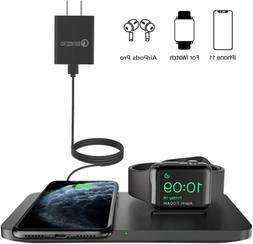 2-In-1 Dual Wireless Phone Charging Pad Mat With iWatch Stan