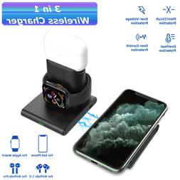 3 in 1 15W Qi Wireless Fast Charger Charging Pad Stand Dock