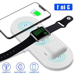 3 In1 Fast Charging Qi Wireless Charger Pad Dock For Apple A