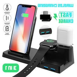 3in1 Qi Fast Wireless Charger Pad Charging Dock Station For