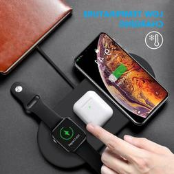 3in1 Qi Wireless Charger Fast Charging Pad For Apple Watch i