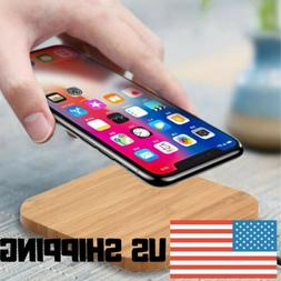 New Portable Qi Wireless Charger Slim Wood Charging Pad Mat