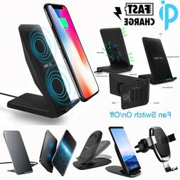 Qi Wireless Fast Charger Charging Stand Dock Pad iPhone X 8