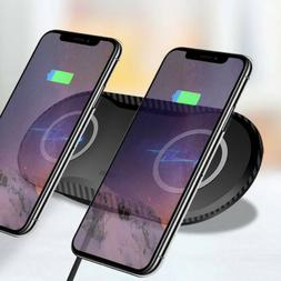 US Qi Wireless Charger Dual Phone Charging Mat Pad For iPhon