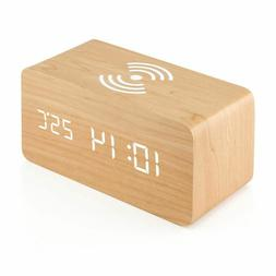 Wooden Digital Alarm Clock Thermometer With Qi Wireless Char